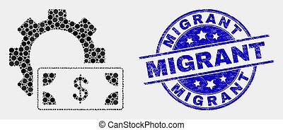 Vector Pixel Financial Settings Gear Icon and Grunge Migrant Stamp