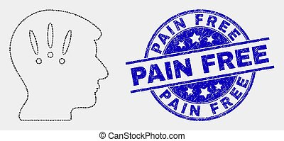 Vector Pixel Headache Icon and Scratched Pain Free Seal