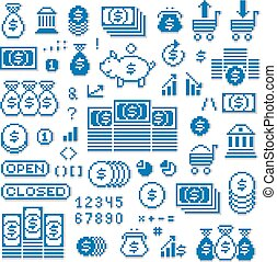 Vector pixel icons isolated, collection of 8bit graphic elements. Simplistic digital signs created in business and finance theme.
