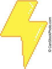 Vector pixel lightning - Vector pixel art 8bit illustration...