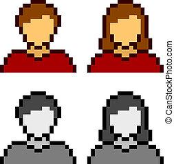vector, pixel, macho, hembra, avatar, iconos
