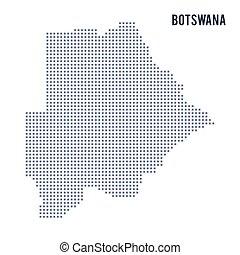 Vector pixel map of Botswana isolated on white background