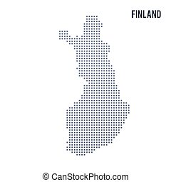 Vector pixel map of Finland isolated on white background