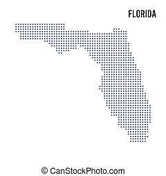 Vector pixel map State of Florida isolated on white background