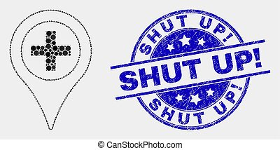 Vector Pixel Medical Map Marker Icon and Distress Shut Up! Stamp