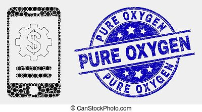 Vector Pixel Mobile Financial Options Icon and Distress Pure Oxygen Stamp