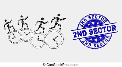 Vector Pixel People Run Over Clocks Icon and Scratched 2Nd Sector Stamp Seal
