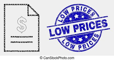 Vector Pixel Price List Page Icon and Scratched Low Prices Seal