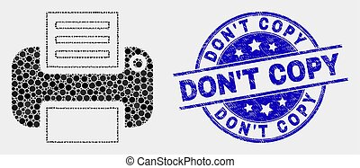 Vector Pixel Printer Icon and Distress Don'T Copy Seal