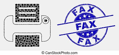 Vector Pixel Printer Icon and Distress Fax Watermark
