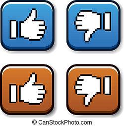 vector, pixel, pulgar up, y, abajo, botones