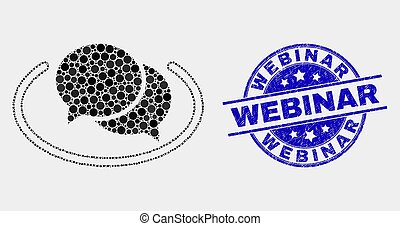 Vector Pixel Social Network Messages Icon and Grunge Webinar Stamp