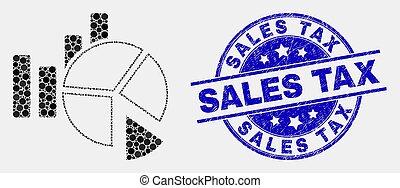 Vector Pixel Statistics Charts Icon and Distress Sales Tax Seal