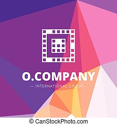 Vector pixel style geometric O letter logo on low poly background