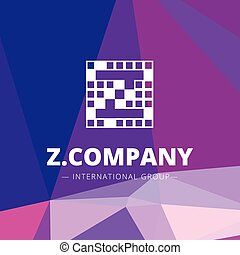 Vector pixel style geometric Z letter logo on low poly background