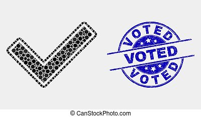 Vector Pixel Validated Tick Icon and Distress Voted Stamp
