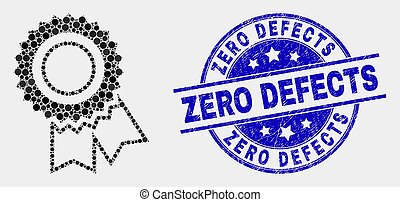 Vector Pixelated Award Seal Icon and Grunge Zero Defects Stamp Seal