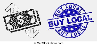 Vector Pixelated Banknotes Exchange Arrows Icon and Scratched Buy Local Stamp