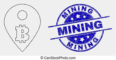 Vector Pixelated Bitcoin Map Marker Icon and Grunge Mining Seal