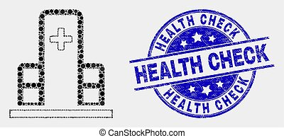 Vector Pixelated Clinic Building Icon and Distress Health Check Seal