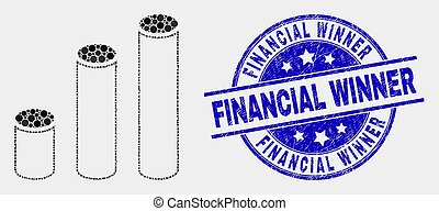 Vector Pixelated Cylinder Chart Icon and Grunge Financial Winner Stamp