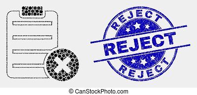 Vector Pixelated Delete Report Page Icon and Distress Reject Stamp