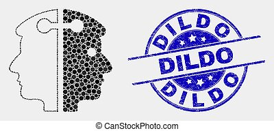 Vector Pixelated Dual Head Link Icon and Distress Dildo Stamp