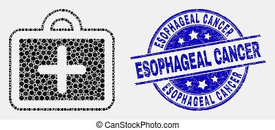 Vector Pixelated First-Aid Case Icon and Distress Esophageal Cancer Stamp Seal