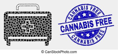 Vector Pixelated First Aid Case Icon and Grunge Cannabis Free Stamp Seal