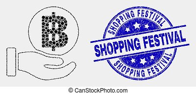 Vector Pixelated Hand Offer Bitcoin Icon and Grunge Shopping Festival Stamp Seal
