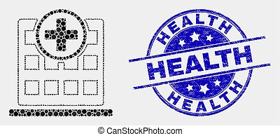 Vector Pixelated Hospital Building Icon and Distress Health Stamp