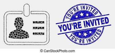 Vector Pixelated Person Badge Icon and Scratched You'Re Invited Stamp Seal