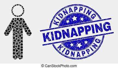 Vector Pixelated Person Icon and Scratched Kidnapping Stamp...