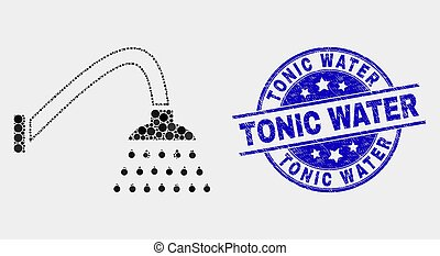Vector Pixelated Shower Icon and Distress Tonic Water Stamp Seal