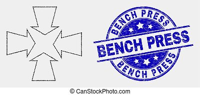 Vector Pixelated Shrink Arrows Icon and Distress Bench Press Stamp Seal