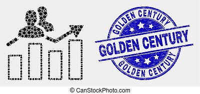 Vector Pixelated Visitors Bar Chart Icon and Distress Golden Century Stamp Seal