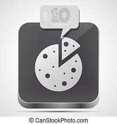 Vector pizza app icon with gray bubble speech. Eps 10