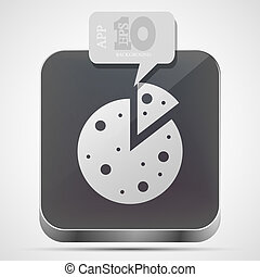 Vector pizza app icon with gray bubble speech. Eps 10