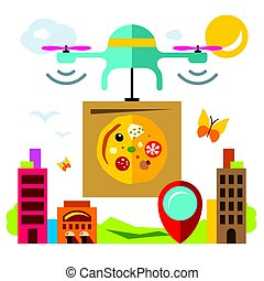 Vector Pizza delivery drone. Flat style colorful Cartoon illustration.