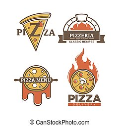 Vector pizza icons for Italian pizzeria - Pizza logo for ...