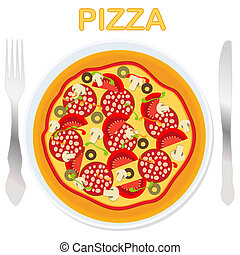 Vector pizza on a plate with fork and knife