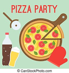 Vector Pizza Party, flat design