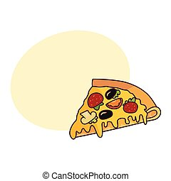 Vector pizza slice flat isolated illustration