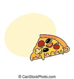 Vector pizza slice flat isolated illustration