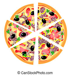 Vector Pizza slices isolated