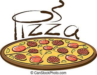 Vector Pizza - vector pizza with calligraphic inscription ...