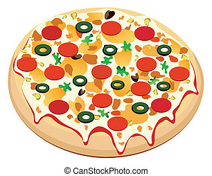 pizza  - vector pizza with sausage and vegetables
