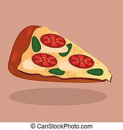 vector pizza with tomato slices and mozzarella