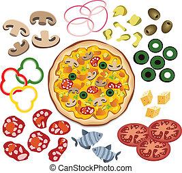 vector, pizza, y, ingredientes, para, su, diseño