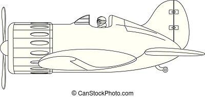 vector plane cartoon illustration